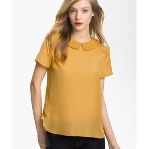 TED BAKER Peter pan mustard collar top,sz.1/US4!!